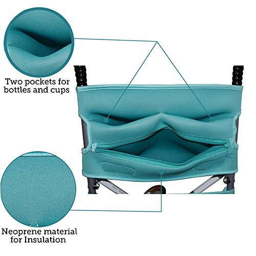 Baby Stroller Caddy Storage Organizer - Cup, Bottle and Diaper Holder for Stroller Accessories Bag - Universal Umbrella Stroller Organizer with Cup Holders - Perfect Baby Shower Gift (Turquoise) by Sunshine Nooks (Image #2)