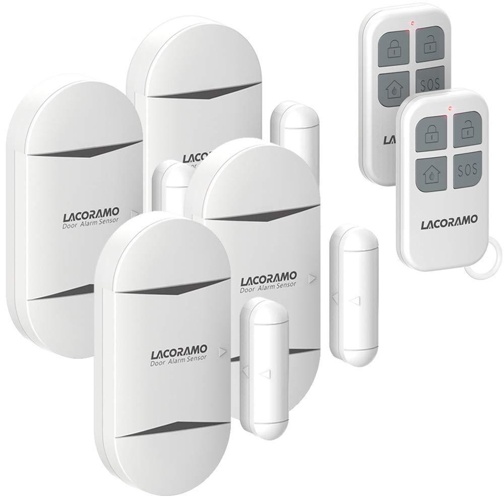 LACORAMO 130db Sensor de alarma para puertas y ventanas con 2 controles remotos, 2 baterías, campana de apertura de contacto magnético inalámbrico para niños, hogar, refrigerador, tienda (4 paquetes)