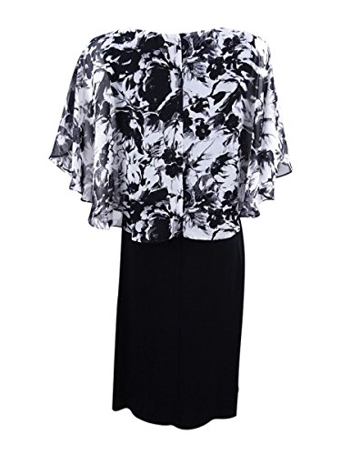 Cape Sheath Overlay Printed Connected Black Cocktail Dress qg5pPtw