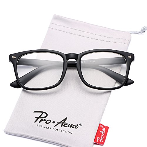 Pro Acme New Wayfarer Non-prescription Glasses Frame Clear Lens Eyeglasses (Matte - Non Prescription Black Glasses