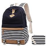 Canvas Backpack Girls Stripe School Bookbag Women College Backpack With USB Port Black