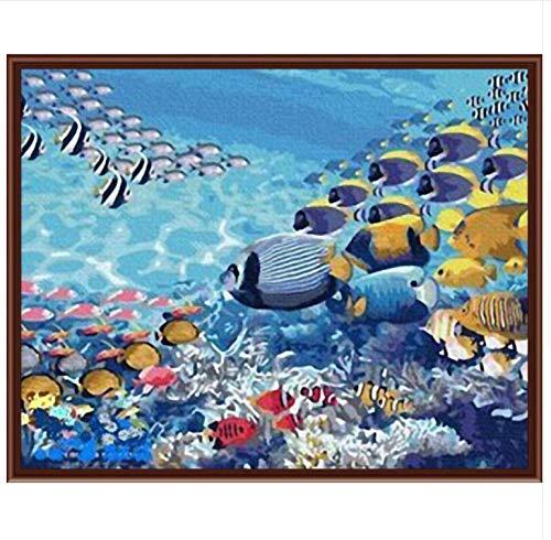 Yzrh Peinture sur Toile Peinture Murale Numéros Abstrait Le Monde Monde Le De La Mer Moderne Mur Décor À La Maison Peinture Toile Without Frame,40x50cm c403e6