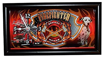 Fire Department With Rescue Dog Framed Wall Or Stand Clock