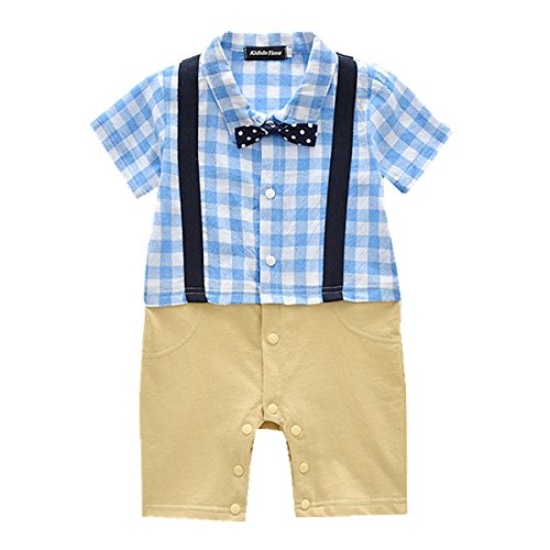 (KidsInTime Baby Boys Gentleman Romper Bow Tie Jumpsuit Dressy Outfit 3m-24m (100(18-24m), Blue))