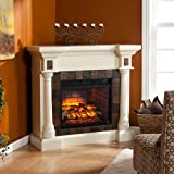 Southern Enterprises Carrington Faux Slate Corner Fireplace in Ivory Review