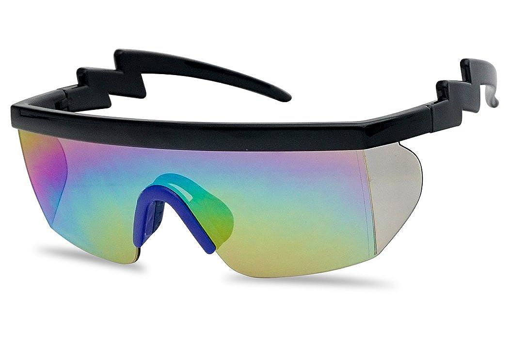 a0326e70c5c Amazon.com  Large Wrap Around Rainbow Mirrored Semi Rimless Flat Top Shield  Goggles Sunglasses (Black Blue Frame
