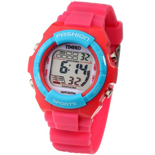Time100 Kid's Digital Timing Multifunctional Black Strap Sport Watch for Boys and Girls