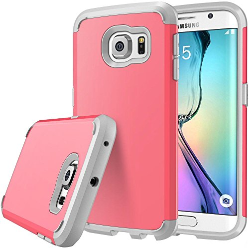 Galaxy S6 Edge case, S6 Edge case, E LV (SHOCK PROOF DEFENDER) Slim Case Cover - Ultimate protection for Samsung Galaxy S6 Edge [RED MELON / GREY]