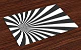 Lunarable Optical Illusion Place Mats Set of 4, Illustration of Spiral Tunnel Vortex Design with Grey Stripes, Washable Fabric Placemats for Dining Room Kitchen Table Decor, Charcoal Grey White