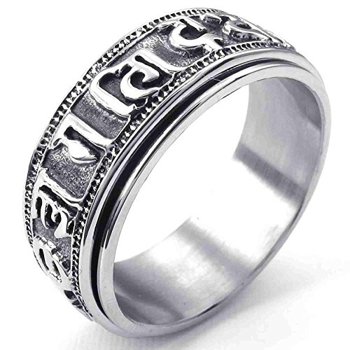 AnaZoz Stainless Steel Tibet Padme Hum Spinner Om Mani Black Silvery Men's Rings Size 10 Fashion Jewelry