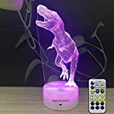 room decor ideas INSONJOHY Dinosaur 3D Night Light Tyrannosaurus Rex LED Lamp Baby Nursery Nightlight Kids' Room Home Décor Gifts Ideas for Christmas Birthday 7 Colors Change Remote Control Timer