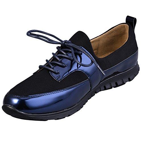 82 Zapatos Colorido Para Mujeres Plano Hengfeng Cordones 6069 azul wHtxI0qRd