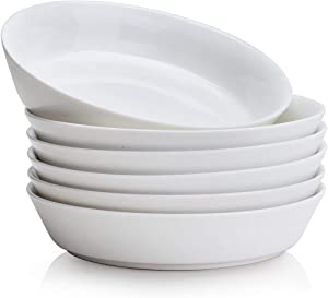 AMOI Ceramic Salad Bowls 26 Oz, Large Pasta Serving Bowl, Bowls for kitchen ,Microwave and Dishwasher Safe, Food network dinnerware sets ,Set of 6 (White)