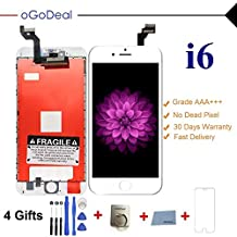 Ogodeal Screen Replacement for iPhone 6, LCD Digitizer Touch Screen Assembly for iPhone 6 with Full Set Repair Tools+Sreen Protector(White)