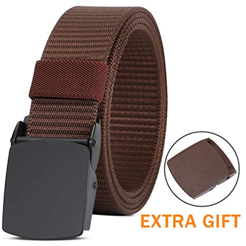 Brown Web Belt - Nylon Military Tactical Web Belts for Men Brown with Metal Buckle Hiking Golf Sports Belt 1.5 Inch