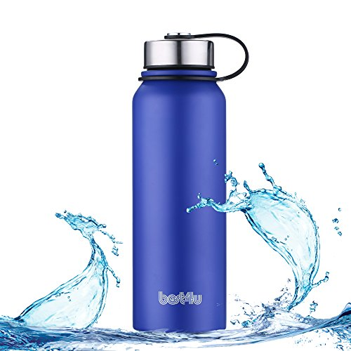 Best4u Stainless Steel Water Bottles, Dark Blue - Vacuum Insulated Water Bottle with Stainless Steel Leak & Sweat proof Cap, Double Wall Thermos Flask For Hot or cold Beverages, 37oz./1100mL