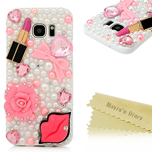 Case Diamond Crystal Hard Cover (S7 Edge Case,Samsung Galaxy S7 Edge Case - Mavis's Diary Luxury 3D Handmade Bling Crystal Shiny Sparkle Glitter Diamonds Rhinestone Design Hard White PC Cover with Protective Bumper)