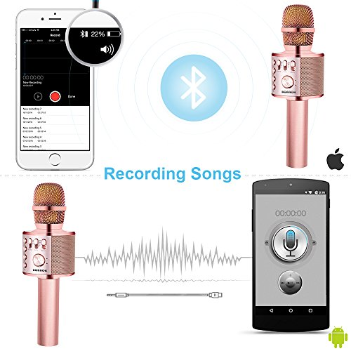 BONAOK Wireless Karaoke Microphone Rose Gold Plus, Easter Gift 3-in-1 Portable Built in Bluetooth Speaker Machine for Android/iPhone/iPad/Sony/PC or All Smartphone - Image 3