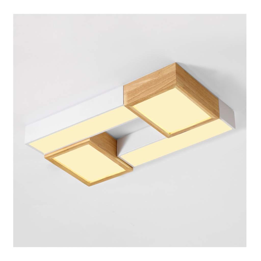 天井照明 シーリングライト、北欧の創造性天井ランプ、LED調光対応錬鉄製の木製アクリル、リビングルームのインテリア寝室の研究用照明 シーリングライト (Color : Warm light)  Warm light B07T6Y545M