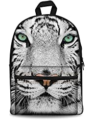 Coloranimal Fashion White Tiger Face Pattern Canvas Backpack for Girls Kids Animal Bookbags