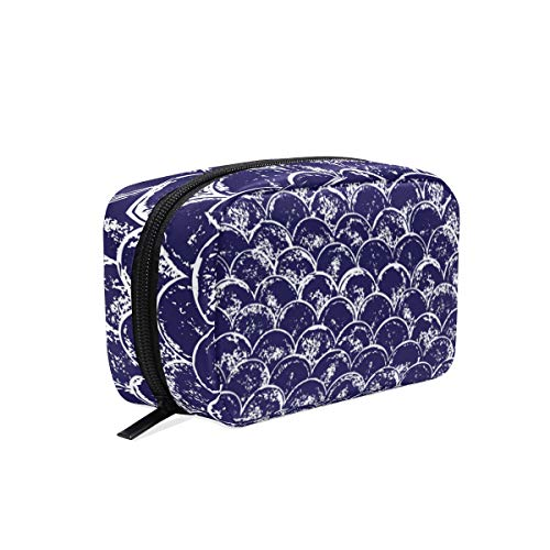 (Navy Blue And White Grunge Scallop square cosmetic bag compartment travel skin care zipper storage bag female)