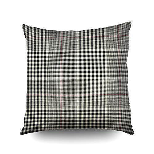 ROOLAYS Cushions for Sofa Cover, Throw Square Decorative Pillow Cover 20x20Inch,Cushion Covers Black Cream red Plaid Both Sides Printing Invisible Zipper Home Sofa Decor -