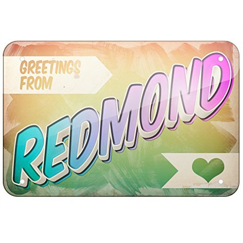 Price comparison product image Metal Sign Greetings from Redmond,  Vintage Postcard,  Small 12x18 Inch Metal Tin Sings