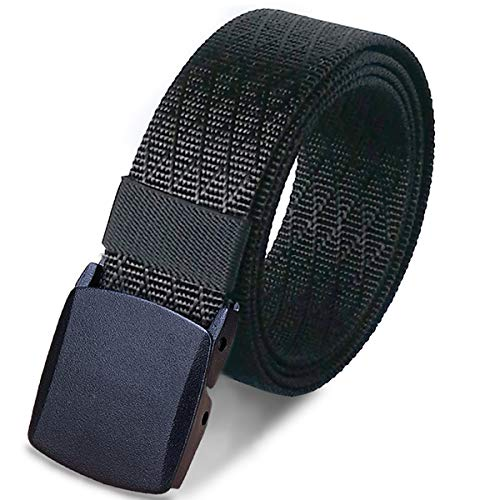 WYuZe Mens Military Tactical Web Belt, Casual Nylon Webbing with No Metal Buckle,Black,Waist: 28