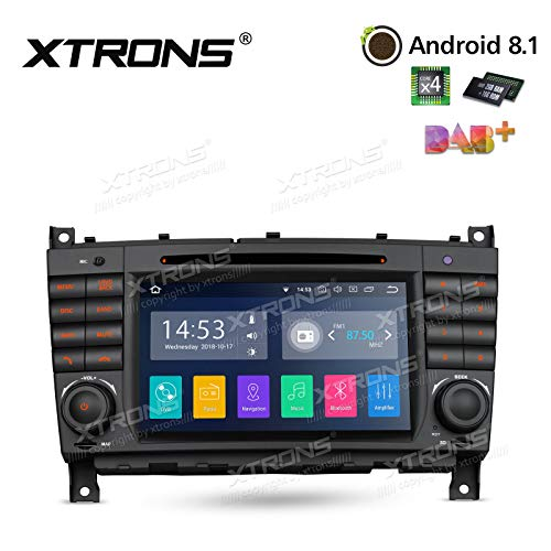 XTRONS Android 8.1 7 inch Touch Display Car Stereo DVD Radio GPS Navigator with USB SD Port DVD Drive Bluetooth 5.0 Supports 4G 3G TPMS OBD Full RCA Output for Benz W203 W20