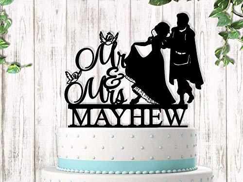 Princess and Prince Charming Last Name Wedding Cake Topper -