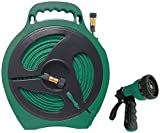 Rocky Mountain Goods Flat Garden Hose 50 Feet with Reel - Includes 10 Pattern Spray Nozzle - Built in Water Wringer - Easy Wind Reel with Built-in Handle and Stand