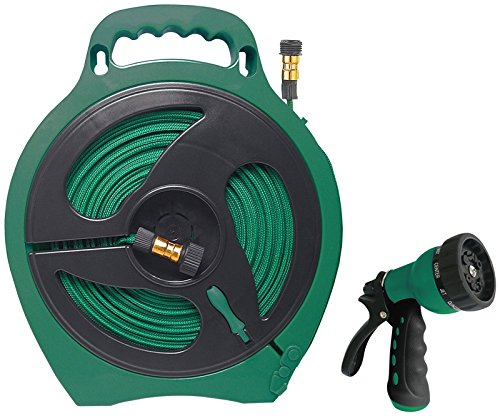 Rocky Mountain Goods Landscapers Select Flat Garden Hose 50 Feet with Reel - Includes 10 Pattern Spray Nozzle - Built in Water Wringer - Easy Wind Reel with Built-in Handle and Stand