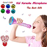 Microphone for Kids - Portable Wireless Microphone Karaoke with Bluetooth Speakers for Music Playing and Singing Anytime Anywhere - Support IPhone/Android IOS Smartphone/Tablet Compatible (Pink)