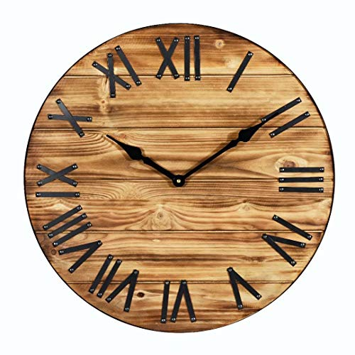 23-Inch Oversized Rustic Metal & Wood Farmhouse Large Decorative Wall Clock Silent Non-Ticking Battery Operated with Black Metal Roman Numerals for Home Decor (Roman Home Decor)