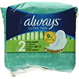 Always Ultra Thin, Size 2, Super Pads With Wings, Unscented, 16 Count, Packaging May Vary