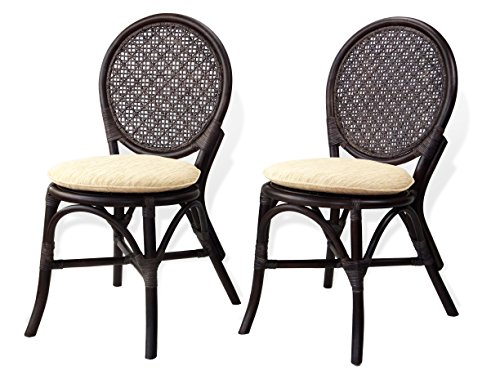 Set of 2 Denver Dining Armless Side Chairs Natural Rattan Wicker ECO Handmade Design, Dark Brown