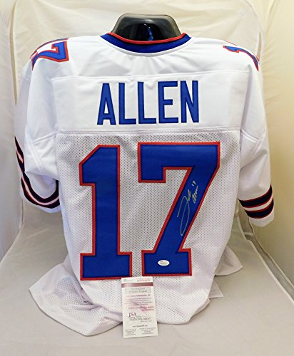 Josh Allen Autographed/Signed Authentic Style White Bills Jersey JSA Witness (Autographed Authentic Style White Jersey)