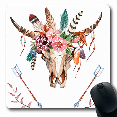 Ahawoso Mousepads Dead Cow Watercolor Bulls Head Flowers Feathers Skull Nature Boho Arrow Buffalo Mexican Design Desert Oblong Shape 7.9 x 9.5 Inches Non-Slip Gaming Mouse Pad Rubber Oblong -