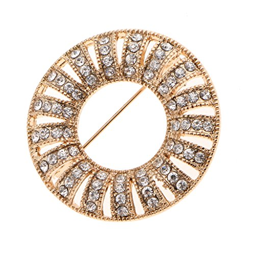 Jili Online Round Women Corsage Crystal Diamante Dress Brooch Wedding Bridal Broach Pins - Gold ()
