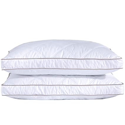 Puredown Natural Goose Down Feather Pillows For Sleeping Down Pillow 100 Cotton Pillow Cover Downproof Queen Set Of 2