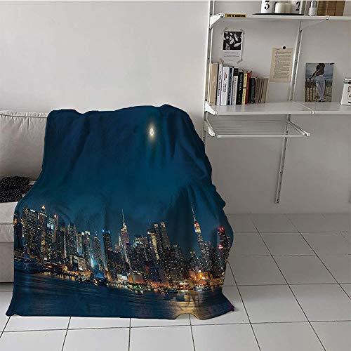 - Khaki home Children's Blanket Lightweight Plush Throw Blanket (50 by 60 Inch,Urban,Moon Night Sky Manhattan Above Lake Cityscape Luminous Buildings New York Town Image,Dark Blue