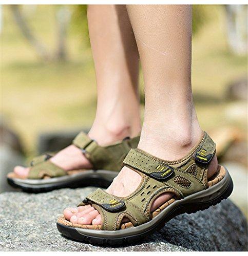 Designer Casual Sandales slip Pour Khaki Cuir En Respirant Sandale Hommes Chaussures Confortable Véritable Mâle Qualité Lumino Adulte Non RfYdqnOq
