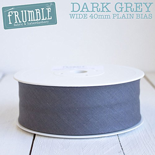40mm Dark Grey Plain Bias 5m Roll - 40mm Bias Binding Bias Binding Bunting Tape Sewing Trim Sewing Edging Frumble