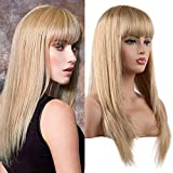 Blonde Long Straight Human Hair Wig with Bangs Ombre Long Wig for Women BLONDE UNICORN Human Hair Wig(#18/613)