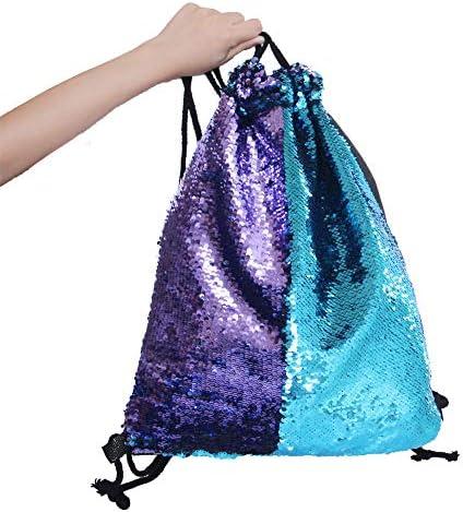 MHJY Pailletten Tasche Rucksack Meerjungfrau Farbwechsel Glitzer Rucks/äcke Kordelzug Pailletten Beutel Sporttasche Magie Schultasche Umh/ängetasche Daypacks Tanz Taschen
