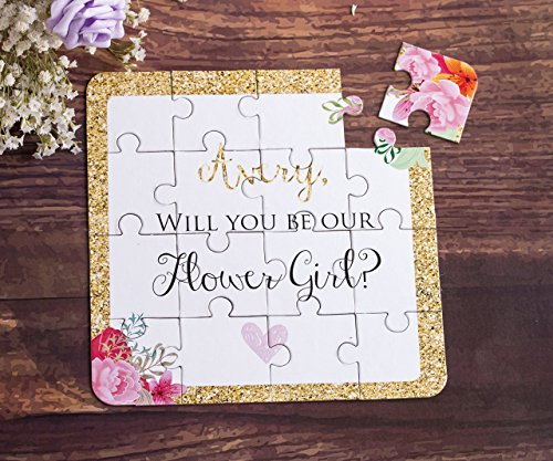 Rounds Chipboard (Flower Girl Gift Puzzle Invitation CUSTOM Will You be My Flower Girl Card)