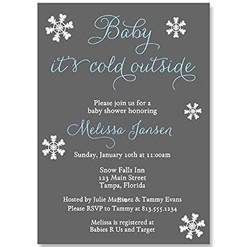 Amazon winter baby shower invitations unisex snowflakes winter baby shower invitations unisex snowflakes white blue boys set filmwisefo Gallery