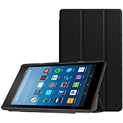 Fintie Slim Case for All-New Amazon Fire HD 8 Tablet (7th Generation, 2017 Release), Ultra Lightweight Slim Shell Standing Cover with Auto Wake / Sleep, Black