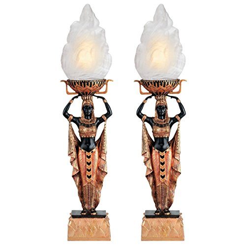 Design Toscano Egyptian Torch Offering Table Lamp - Set of Two