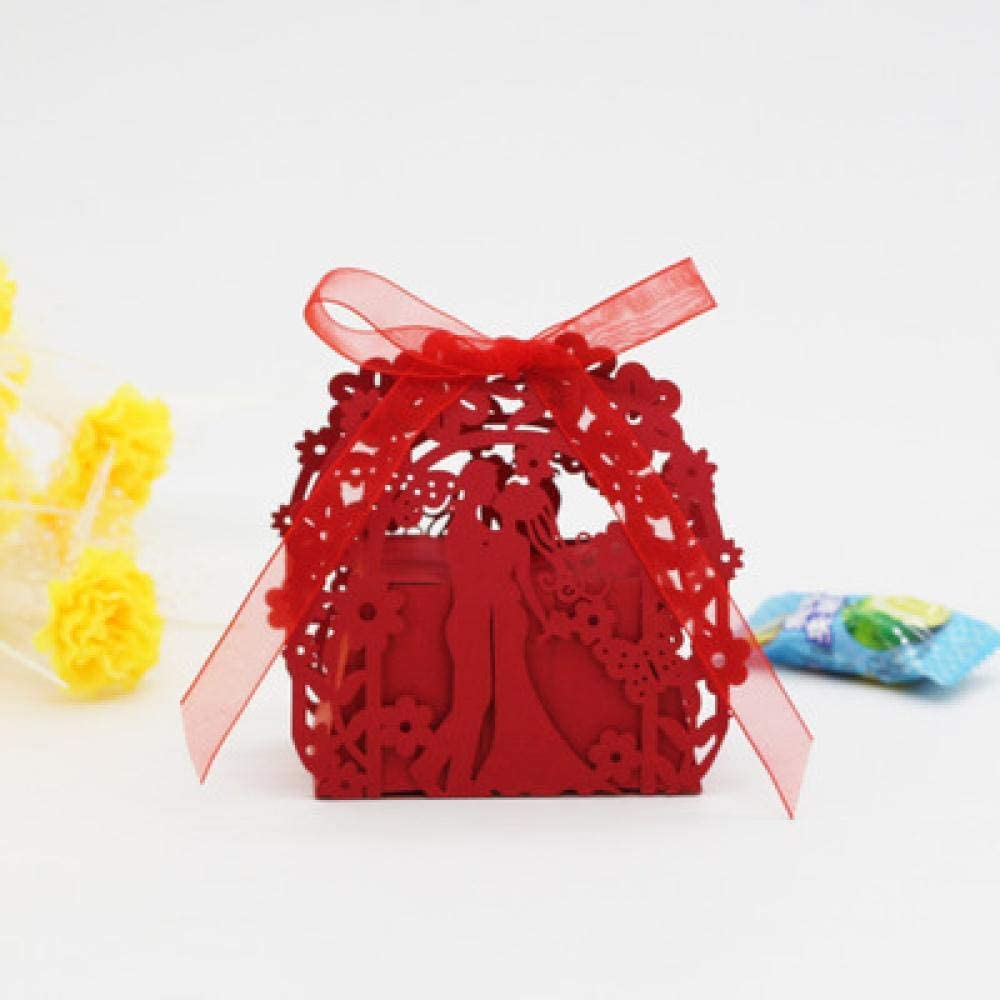 N/L Bride and Groom Gift Box Wedding Favors and Gifts Candy Box Wedding Gift Box Wedding Favor Box For Candy 50pcs 100pcs Red